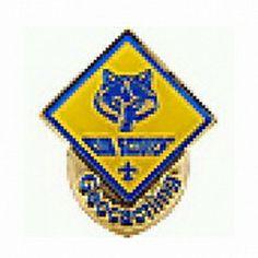 Geocaching / Geocoin lapel pin: Cub Scouts Geocaching, polished gold