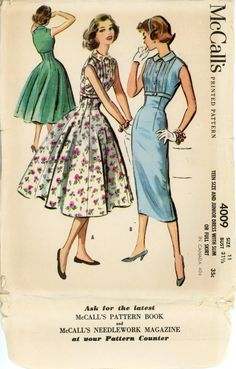 McCalls 4009 Misses 1950s Dress Pattern Sleeveless Full or Slim Skirt Day or Evening Party Dress Womens Vintage Sewing Pattern Bust 31.5. $22.00, via Etsy.