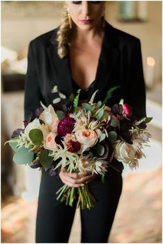 Same Sex Wedding Floral Design Black Suit www.trenholmphoto.com