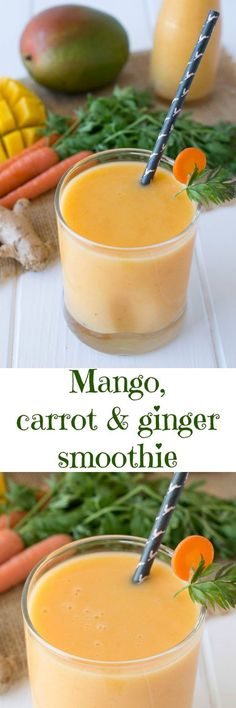 Mango, carrot & ginger smoothie. Fruit & veggies with added protein from Greek yogurt. Healthy drinks & smoothies