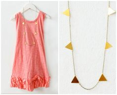 Golden Triangle Garland Necklace by NestPrettyThingsShop on Etsy, $36.00