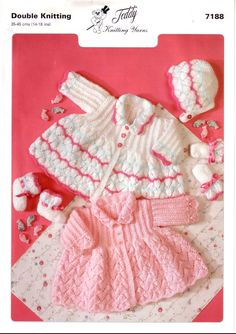 Vintage PDF BABY Knitting Pattern - Teddy 7188- cardigan matinee coat bonnet mittens booties on Etsy, £1.00