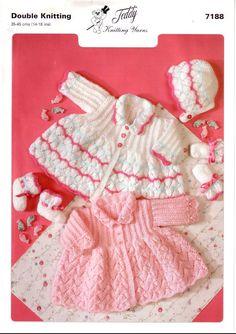 Vintage PDF BABY Knitting Pattern - Teddy 7188- cardigan matinee coat bonnet mittens booties on Etsy, £1.00