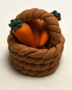 Vintage Miniature Basket of Carrots Polymer Clay Figurine Tall Adorable! Fairy Food, Clay Figurine, Cute Charms, Miniature Fairy Gardens, Clay Art, Glass Jars, Carrots, Polymer Clay, Fairy Village