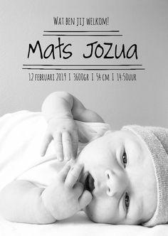 Geboortekaartje stoere fotokaart - Zo Joann, verkrijgbaar bij #kaartje2go voor €1,89 Boy Names, Babys, Pregnancy, Baby Boy, Face, Kids, Products, Honey, Save The Date Cards