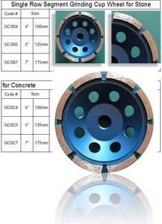 Single Row Diamond Grinding Cup Wheel with 8 diamond segments. made by RM Tech Korea (StoneTools Korea®) provides the highest quality; world top selling more than 500 sets monthly