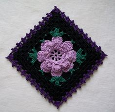 Black Gothic Crochet Potholder in Vintage Style with Lavender Rose by Acadian Crochet,