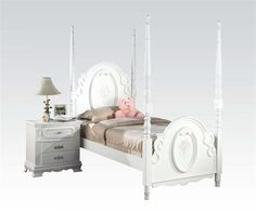 Flora White Wood Crown Molding Full Poster Bed