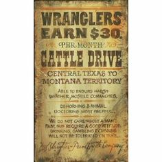 Custom Large Wranglers Cattle Drive Vintage Style Wooden Sign Western Decorvintage Signsvintage