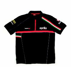 2012 Paddock short-sleeved polo shirt: fabric 100% cotton, graphics on back and chest, piping refelx on sides and red contrasting zip  #Aprilia #racing #superbike #sport #motorbike #superbike #black #rsv4 #paddock #shirt #teamwear #Italy