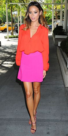 Love Her Outfit! | JAMIE CHUNG | Jamie will see your one pop of color and raise you two. She mixes tangerine, hot pink and fuchsia and somehow it all works. (Somehow=no crazy jewelry or other big accessories.)