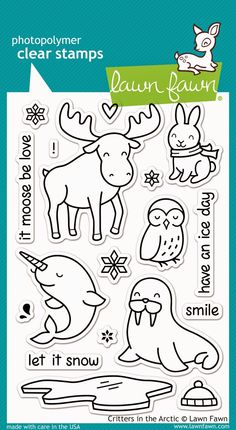 Critters in the Arctic stamp set from Lawn Fawn. Summer 2014.