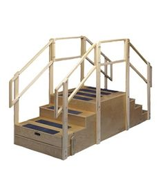 Bailey® Straight Training Stairs Platform - Hardwood with anti-slip safety treads. Double handrails accommodate children and adults. Includes bus step.