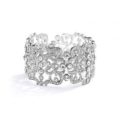 Mariell Vintage Couture Crystal Wedding Cuff Bracelet - charming!