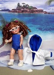 "Ginny is ~Goin' to the Beach!~ in BLuE PoLKa DoT..A 3 PC hand designed sunsuit, beachcoat, and glasses for Ginny, Muffie, Ginger, or MA Wendy 7.5-8"" dolls.Original design and LAST ONE LEFT in this color. You can buy it instantly on www.karmelapples.com  Click on pix to take you there."