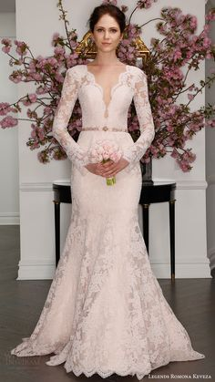 illusion long sleeves deep v lace trumpet wedding dress (l7126) mv blush color