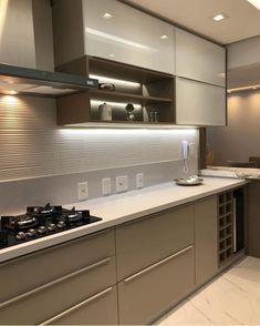 Small Modern Kitchens, Modern Kitchen Interiors, Luxury Kitchen Design, Kitchen Room Design, Contemporary Kitchen Design, Interior Modern, Home Decor Kitchen, Home Interior, Interior Design Kitchen