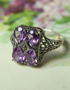 """Amethyst Crystal"" emerald cut purple gem ring with filigree from Victorian Trading Co."