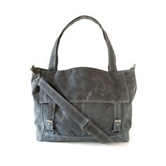 Waxed Canvas Letter #Bag Gray and Teal by moop.etsy.com.