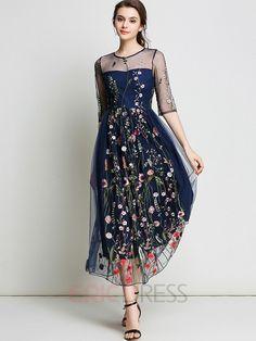 Ericdress Mesh Embroidery High-Waist Maxi Dress