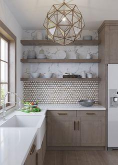 Home Decor Kitchen, Interior Design Kitchen, Warm Kitchen, Neutral Kitchen Designs, Kitchen Nook, Updated Kitchen, County Kitchen Ideas, Farm Kitchen Ideas, Small Kitchen Inspiration