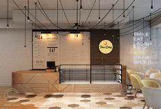 Дизайн Кафе кондитерской Pan Cake 104 м. кв. Светлое уютное кафе на первом этаже торгового центра - место где приятно выпить ароматный кофе в компании