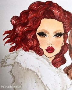102 Likes, 4 Comments - Designer Face Sketch, Drawing Sketches, Art Drawings, Pencil Drawings, Sketching, Pen Art, Marker Art, Girls With Red Hair, Copic Sketch