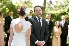 """The Best Wedding """"First Look"""" Reactions of 2015: We love this wedding day photo of the groom looking at his bride! {Little Blue Lemon Photography & Cinematography}"""