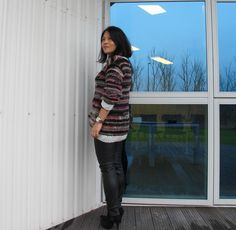 transperant knit and leather leggings