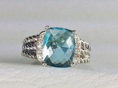 David Yurman Wheaton Petitte Ring Blue Topaz  -I want this!