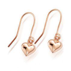 Rose Gold Vermeil Heart Drop Earrings £24.00