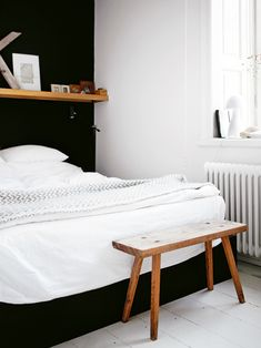 bedroom with a black wall my scandinavian home: Angles from a former culture centre Bedroom Colors, Bedroom Decor, Wood Bedroom, Design Bedroom, Bedroom Bed, Dream Bedroom, Bedroom Radiators, Bed Room, Bedroom Furniture