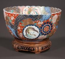 Imari porcelain bowl with cobalt blue, gold and green, bird, animal and floral decorations, c.1860