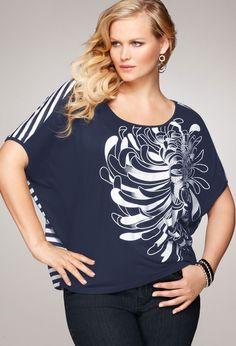 Plus Size Mixed Print Top | Plus Size Knit Tops & Tees | Avenue