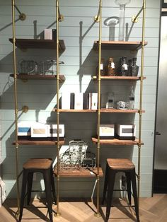 diy pipe shelves inspired by restoration hardware there 39 s no place like home pinterest. Black Bedroom Furniture Sets. Home Design Ideas
