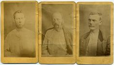 CDV's of wounded and captured James & Younger Outlaw Gang members Bob Younger, Cole Younger and Jim Younger. Photographed shortly after their capture following the botched bank robbery attempt of the First National Bank in Northfield, Minnesota on September 7, 1876.  *s*