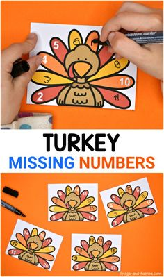 Your kids will love these Turkey Missing Numbers cards & worksheets, featuring adorable turkeys with numbers from 0-100! This is a fun printable activity to get your kids ready for Thanksgiving or just a fun turkey-themed math practice! #thanksgivingactivitiesforkids #numberorder #activitycards #printablesforkids #missingnumbers