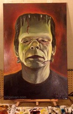 "Glenn Strange Frankenstein oil painting.  24x36"" on canvas."