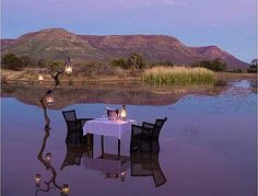 Romantic African dining setting, in a Private Game Reserve - Romance doesn't get any better than this!    For more information on romantic safari destinations in Southern Africa contact Chantelle - grt@gotravel.co.za     #travel #SouthAfrica