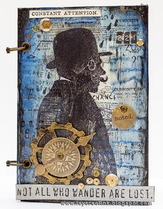 Layers of ink - Sherlock Holmes Notebook by Anna-Karin. Made for the Simon Says Stamp Monday Challenge Blog, with Tim Holtz Stampers Anonymous Evolution stamps, Ranger inks and paints and idea-ology embellishments.