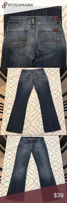 """💙👖Cute Boot Cut 7 FAM Jeans👖💙27 3/4  Med. Blue 💙👖Cute 7 For All Mankind Jeans👖💙 Size 27 (3/4). 7FAM Run Small. Listed as a 26 (1/2). Already Hemmed for you! : ) Short to 29"""" Inseam. Perfect with flats! ; ) 7.5"""" Rise. 13.75"""" Across Back. Good Stretch. Medium (dark) Blue Wash. Light Fading. Boot Cut. 7 FAM Famous wear/light Fray on Pockets. Signature Squiggle in Contrasting Thread. A Classic Cut. A classic Look. Anthropologie. Ask me any questions! : ) 7 For All Mankind Jeans Boot Cut"""