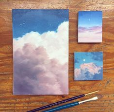 What is Your Painting Style? How do you find your own painting style? What is your painting style? Aesthetic Painting, Aesthetic Art, Painting Inspiration, Art Inspo, Art Watercolor, Watercolor Clouds, Mini Canvas Art, Guache, Painting & Drawing
