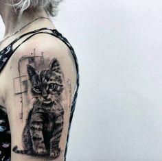 Black and Grey Ink Cat Tattoo Design