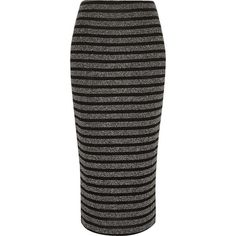 River Island Black knitted stripe pencil skirt (274.100 IDR) ❤ liked on Polyvore featuring skirts, black, sale, women, stretch skirt, black fitted skirt, black stretch skirt, fitted skirts and pencil skirt