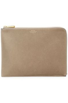 Smythson Eliot Textured-leather Pouch In Mushroom Smythson, Leather Pouch, Gold Hardware, Pebbled Leather, Stuffed Mushrooms, Bags, Leather Satchel, Stuff Mushrooms, Handbags