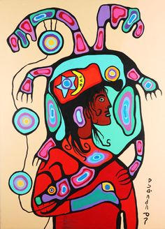 Norval Morrisseau-Shaman with Mother Turtle Native American Paintings, Native American Artists, Canadian Painters, Canadian Artists, Cultural Crafts, Inuit Art, Famous Art, Indigenous Art, Art Themes