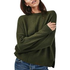 Women's Topshop Zip Side Sweater ($75) ❤ liked on Polyvore featuring tops, sweaters, olive, zip sweater, crew sweater, green sweater, green crew neck sweater and zipper top
