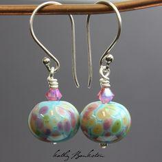 Blue and Pink Lampwork Bead Earrings