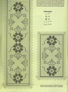trittico filet rettangolare fiori (2) - magiedifilo.it punto croce uncinetto schemi gratis hobby creativi