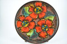 West Deutsche Keramik großer Teller Obstschale, Wandteller, Ruscha 717 2, rote Blumen, 60er / 70er Jahre, Mid Century Design von ShabbRockRepublic auf Etsy